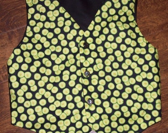 Adult sized pickle design vest, fully lined, one of a kind, custom made to order