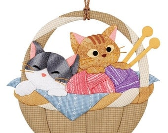 DIY Japanese Folk Art Kitten in the basket --- Japanese Craft Kit (Just use glue to make it) 3810389