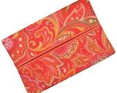 Travel Tissue Holder, Elegant Coral Paisley, Kleenex Holder, Travel Tissue Cozy, Pocket Tissue Holder