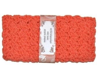 Fancy Face Cloth, Spa Washcloth, Crocheted Wash Cloth, Spa Facewasher, Crocheted Dishcloth Coral
