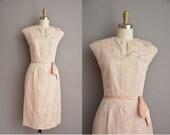 50s beige floral brocade vintage cocktail dress by Joe Forman / vintage 1950s dress