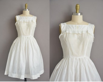 Teena Paige 50s white ruffle cotton vintage full skirt dress / vintage 1950s dress