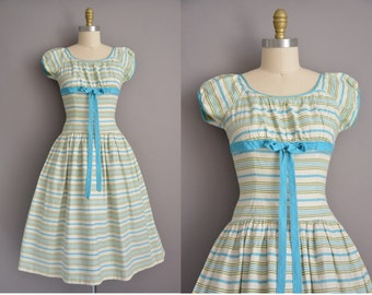 50s cotton stripe print vintage full skirt dress / vintage 1950s dress