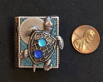 Sea Turtle-miniature book pin with a readable story inside