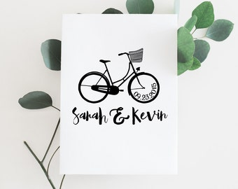 Custom Save The Date Stamp - Brush Script Wedding Bicycle Rubber Stamp
