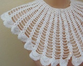 Cotton Crochet Collar, Wide Lace, Scalloped, Button Closures, Prairie, Victorian, Edwardian, Granny Hippie