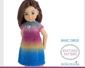 Knitting Pattern - Little Darling Dolls -13 inch Doll Clothes - Basic Dress for Doll by Dianna Effner - Easy Beginner  Pattern