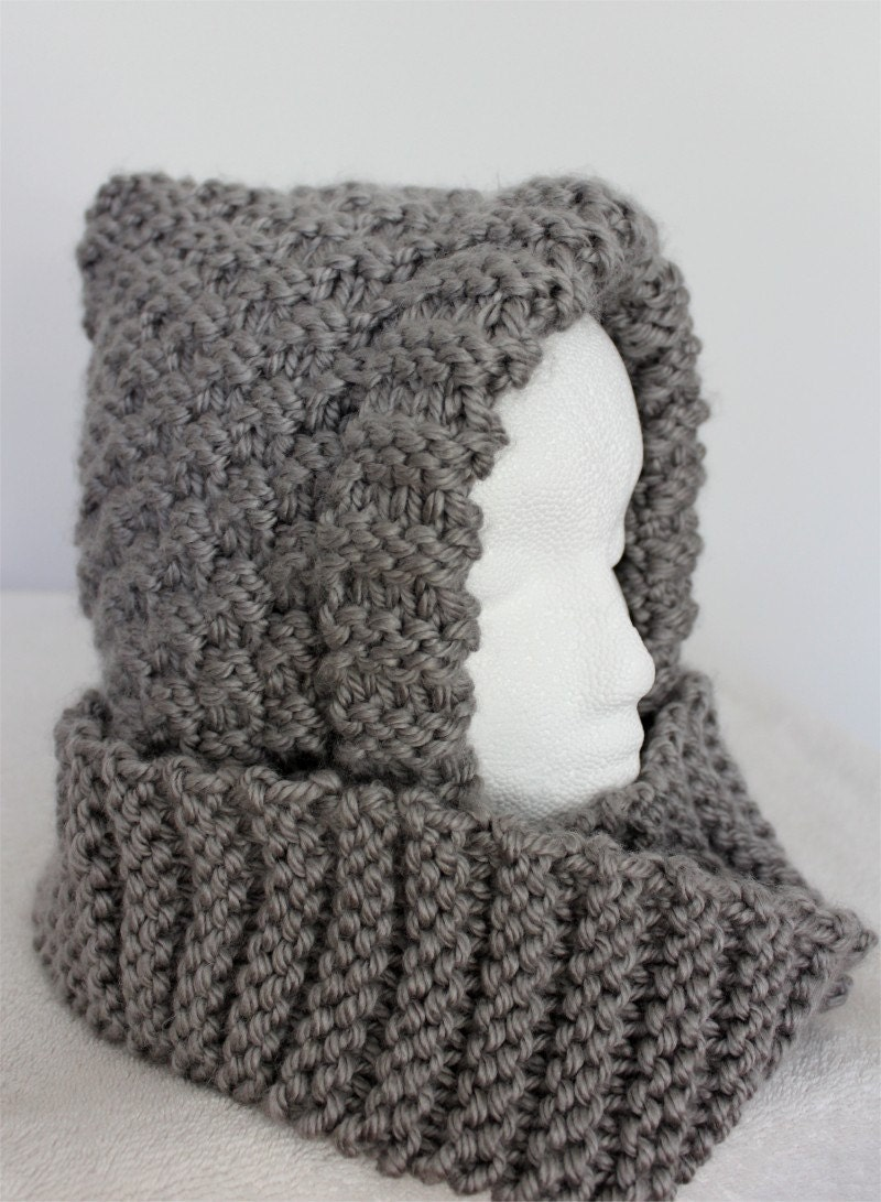 Hood Knitting Pattern Warm Hooded Scarf Pdf Knitting Pattern