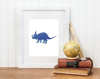 Triceratops Dinosaur Printable Nursery Art - Triceratops Decor - Digital Download - Big Boy Room, Boy Nursery Art, Dinosaur Art