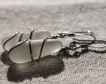 Genuine Sea Glass Earrings - Vintage Glowing White Sea Glass Earrings