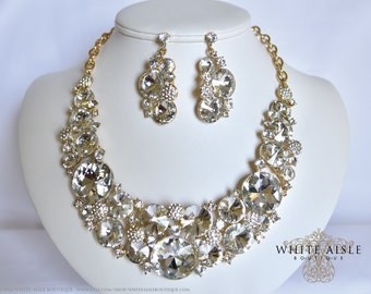 Gold Bridal Jewelry Set, Crystal Statement Necklace Earrings, Back Drop Neckklace, Vintage Style Bridal Necklace, Bridal Earrings
