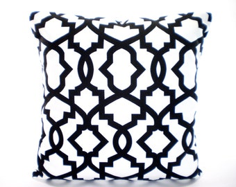 Black White Geometric Pillow Cover, Decorative Pillows, Cushion Covers, Black White Sheffield Euro Sham Decorative Pillows, One ALL SIZES