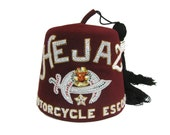 Vintage Shriners Fez Mens Hejaz Motorcycle Escort Ornate Fraternal Masonic Fez Hat with Tassel
