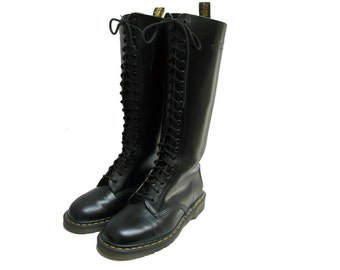 Vintage Doc Martens 20 Eyelet Boots Made In England Mens Black Leather Knee High Dr Martens Punk Combat Boots Fits Mns US Size 10