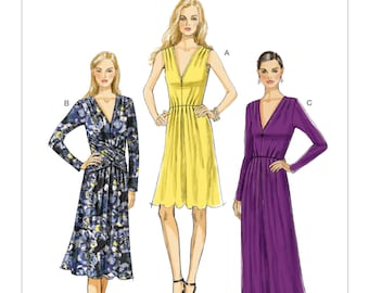 Sz 6/8/10/12/14 - Vogue Dress Pattern V8921 - Misses' Pleated V-Neck Dresses in Three Variations - Vogue Patterns