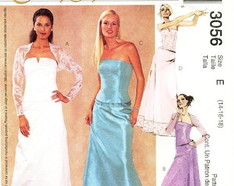 Sz 14/16/18 - McCall's Dress Pattern 3056 - Misses' Shrug Jacket, Lined Bustier & Skirts with Optional Trim  - McCall's Evening Elegance