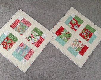 """QUILTED CHRISTMAS TABLEMAT,  18.5"""" x 18.5"""", Tabletop Tree Skirt, Candlemat, Scrappy, Quilted Linens, Christmas Decor, Disappearing 9-Patch"""