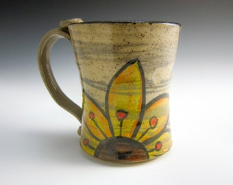 Ceramic Coffee Mug - Ceramic Cup - Yellow Sunflower -  Stoneware Coffee Mug - Pottery Mug - 14 ounce Mug - Medium Coffee Mug - Rustic
