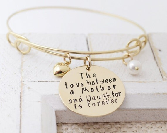 14k Gold Filled Mother Daughter Bangle - Personalized Birthstone Charm Bracelet - Stamped Metal Gold Filled Bangle - Love It Personali