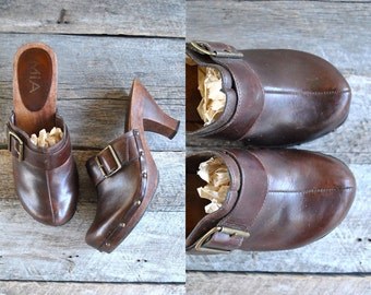 High Heel Clogs  Sz 8  //  Wooden Platform Clogs Sz 38.5  //  FESTIVAL BOUND