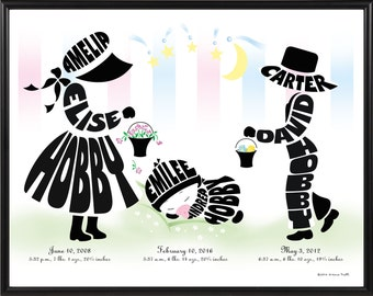 Personalized Big Sister, Little Brother with Baby Sister or Baby Brother Print, Framed Silhouette of Brothers and Sisters