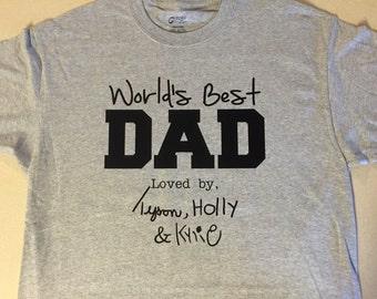 Worlds Best Dad Mom Grandma Grandpa t-shirt custom kids writing names personalized