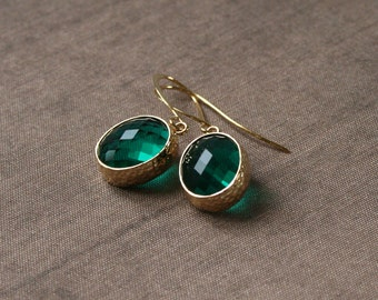 Gold Earrings,Emerald Earrings,Drop Earrings,Dangle Earrings,Bridesmaid Gift