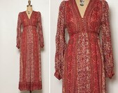 vintage 1970s Indian cotton dress maxi