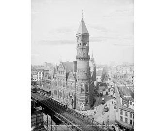 Vintage Photo of Old New York City ~ Antique photograph of Jefferson Market in NYC ~ Quality giclee print of vintage photo