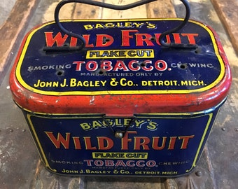 Antique Bagley's Wild Fruit Tobacco Tin Lunch Pail / Lunch Box
