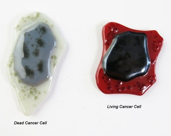 Sad Ugly Cancer Cells Set of Two Fused Glass Magnets