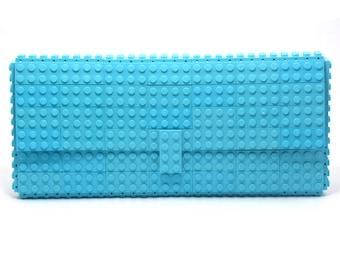 Azure clutch purse made with LEGO® bricks FREE SHIPPING purse handbag legobag trending fashion