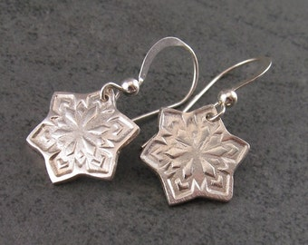 Fine silver snowflake earrings, handmade OOAK eco friendly silver jewelry
