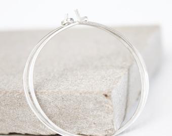 Handmade Silver hoop earrings, gift for her, birthday gift