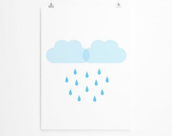 Rain Clouds Print, Rain Drops Nursery Art, Blue Rain Clouds, Rainy Clouds, Nursery Print, New Mom, New Baby, Trending Items, Trending Now