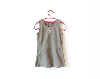 vintage jumper dress girl's 90's osh kosh khaki green plaid children's clothing 1990's size 5