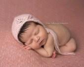 Knit Newborn Baby Bonnet, Asymetrical Bonnet, Newborn Photo Shoot Prop by Cream of the Prop