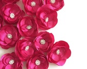 Bright Pink Fushcia Satin Flower Hair Clips shoe clips - Wedding Bridal Party Bridesmaid gifts , Prom, decor, bouquet