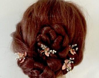 Rose Gold hair pins   Pearl hair pins   Copper   bridal hair pins Wedding