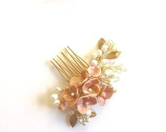 Blush pink Bridal hair comb headpiece pearl hair comb handmade wedding