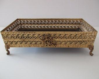 vintage Matson style gold plated TISSUE Box holder - filagree, roses