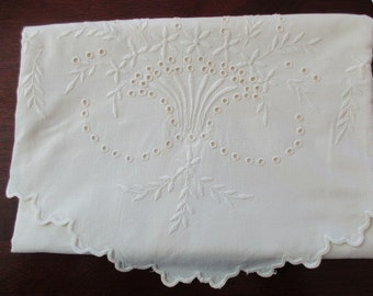 40s LARGE white linen PILLOW SHAM - floral, embroidered, basket of flowers