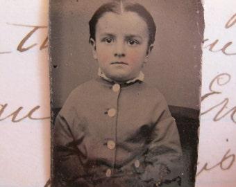 antique miniature tintype photo - gem type - child - late 1800s photo - gt523