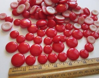 120 vintage RED cabochons - 16mm, 20mm, and 23mm assortment vintage supply