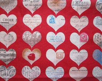 heart collage FABRIC - 40 x 40 inches - all cotton