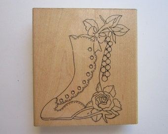 rubber stamp - VICTORIAN BOOT - used stamp