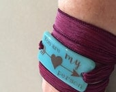 You are my person, Personalized Bracelet fused glass wrap bracelet on hand dyed silk ribbon