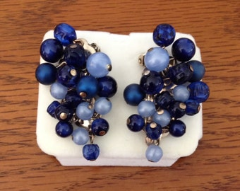 Vintage Mid Century Cresent Shaped Clip On Earrings / Shades of Blue Beads / Made to Curve Around Ear Lobes