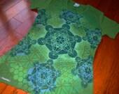 XL Metatron's Cube Sacred Geometry Tee Organic Cotton Chakra Tee w/ Honeycomb, Flower of Life, Hexagon Tessellation
