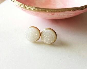 Druzy stud earrings, white druzy studs,  modern pretty jewelry